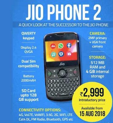 جیو فون 2 کی 15 اگست سے پر بکنگ شروع