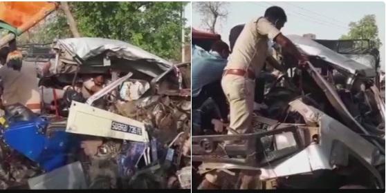 ٹریكٹرٹرالي نے جیپ میں ٹکر ماری، 12افراد ہلاک