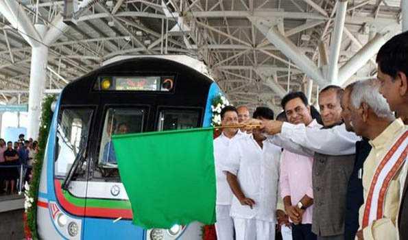 حیدرآباد میٹرو کی امیرپیٹ۔ایل بی نگر لائن کا افتتاح