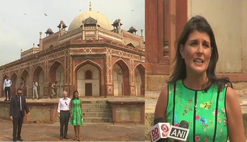 ہندوستان دورے پر امریکی کی سفیر نکی ہالے، دہلی میں کیا ہمایوں کے مقبرے کا دیدار