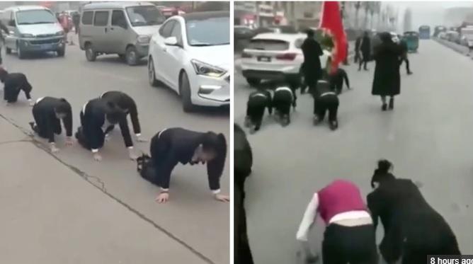 ٹارگیٹ پورا نہیں ہونے پر ملازمین کو سڑک پر گھٹنوں کے بل دوڑایا