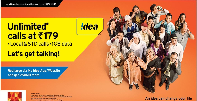 آئیڈیا دے رہا ہے لامحدود کالوں کے ساتھ 1GB ڈیٹا دے، صرف 179 روپئے