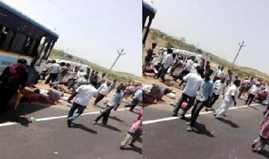 نلگنڈہ: آر ٹی سی بس اور آٹو ٹرالی کے حادثے میں 1 درجن ہلاک