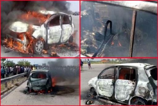 آوٹر رنگ روڈ پر چلتی کار میں لگی آگ، زندہ جل گیا شخص