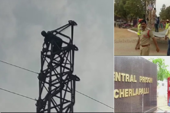 بجلی کے کھمبے پر قیدی، کرنے لگا پولیس افسر کو معطل کرنے کی مانگ:حیدرآباد