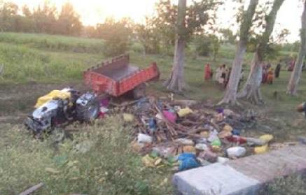 بلرام پور میں ٹریکٹر ٹرالی پلٹنے سے 4افراد کی موت، 19 زخمی