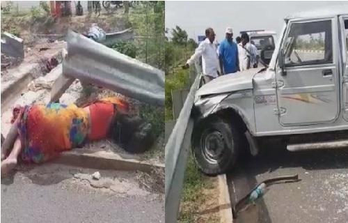 تلنگانہ میں چلتی گاڑی کا ٹائر پھٹا، دو لوگوں کی موت