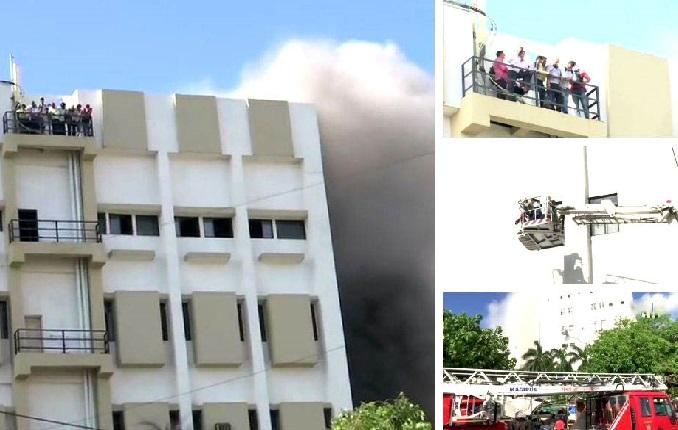 باندرا میں ایم ٹی این ایل بلڈنگ میں لگی آگ، چھت پر پھنسے لوگوں کو نکالا گیا