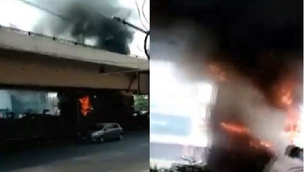 حیدرآباد کے پنجہ گٹہ فلائی اوور کے نیچے ایک مرتبہ پھر آگ