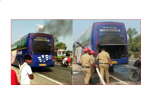 آر ٹی سی کی گورودا بس میں لگی آگ، بال-بال بچے 50 مسافر