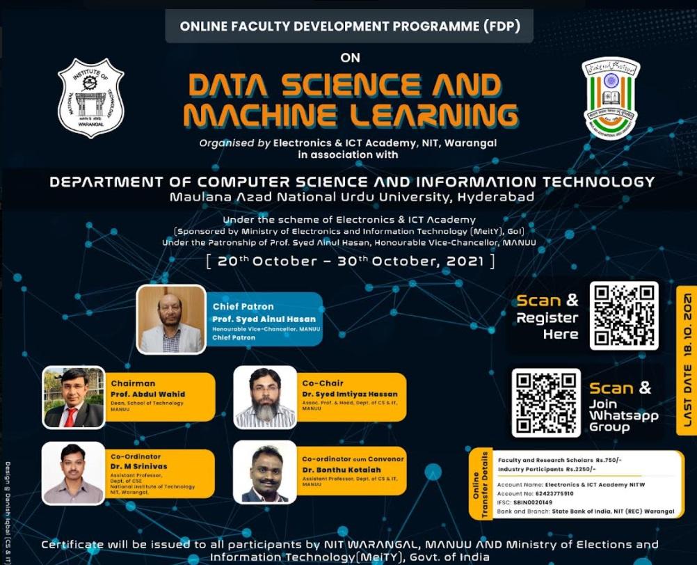 مانو میں ڈاٹا سائنس اور مشین لرننگ پر فیکلٹی ڈیولپمنٹ پروگرام