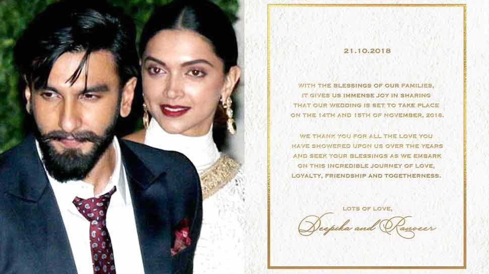 دیپکا-رنویر کی 15 نومبر کو ہوگی شادی