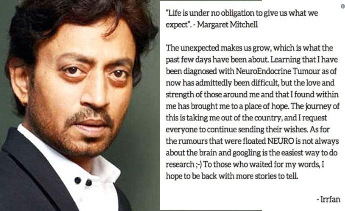 بالی ووڈ اداکار عرفان ے کیا اپنی بیماری کا انکشاف: کہا مجھے نیورواینڈوکرائن ٹیومر ہے