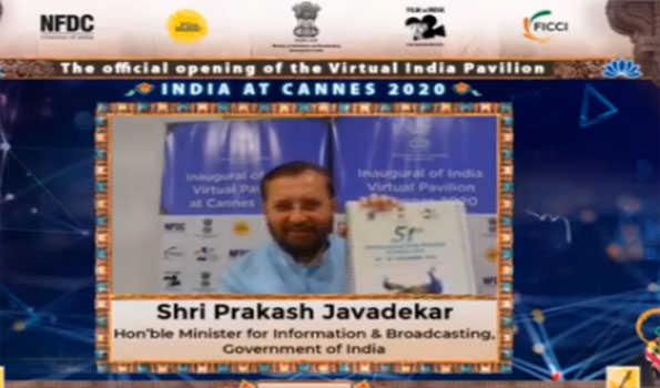 جاوڈیکر نے کان فلمی میلے میں ہندوستانی منڈپ کا ورچوئل افتتاح کیا