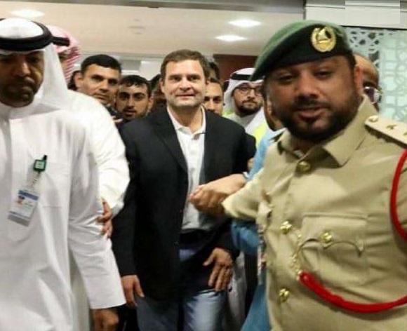 عرب امارات میں راہول گاندھی کا زبردست استقبال، نعروں میں گونج اٹھا ایئرپورٹ