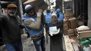 شامی یرموک کیمپ، دو ہفتوں بعد اشیائے خورد و نوش تقسیم