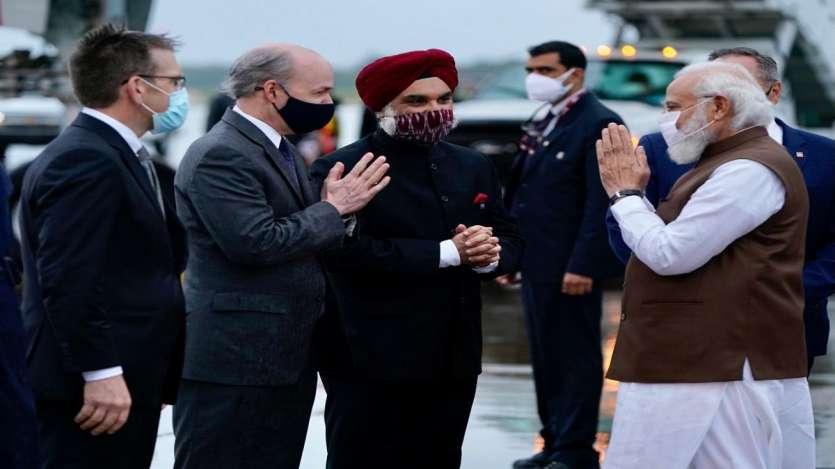 وزیر اعظم مودی کا امریکہ پہونچنے پر شاندار استقبال