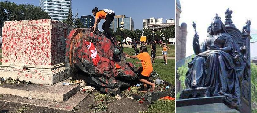 کینیڈا میں ملکہ وکٹوریہ ، الزبیتھ دوم کا مجسمہ تباہ
