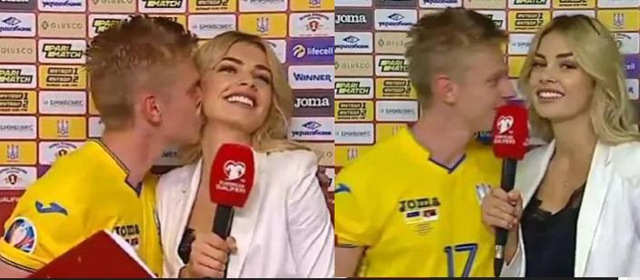 فٹ بالر نے انٹرویو میں خاتون رپورٹر کو کیا کس