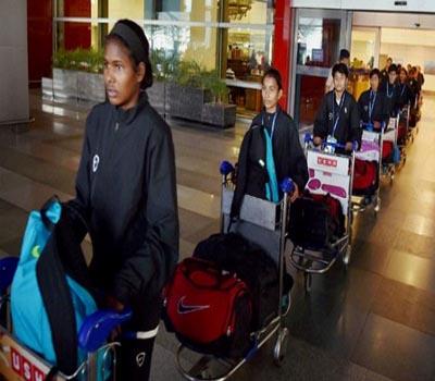 نیپال سے محفوظ ہندوستان واپس ہوئی لڑکیوں کی انڈر 14فٹ بال ٹیم