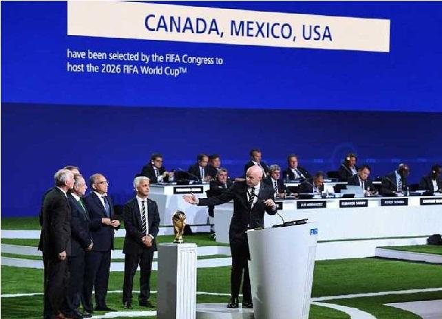 امریکہ، میکسیکو ، کناڈا2026کے فیفا عالمی کپ کی مشترکہ میزبانی کریں گے