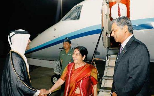 وزیر خارجہ سشما سوراج کی دوحہ آمد