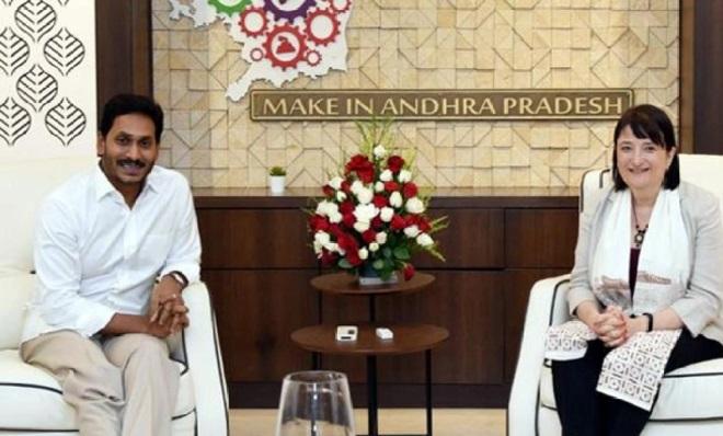 اے پی کے وزیراعلی سے امریکی قونصل جنرل کیتھرین بی ہڈا کی ملاقات