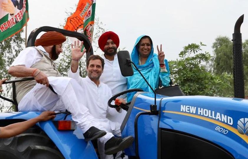 لدھیانہ میں ٹریکٹر چلاتے نظر آئے راہل گاندھی، کیپٹن امریندر سنگھ نے کی سواری