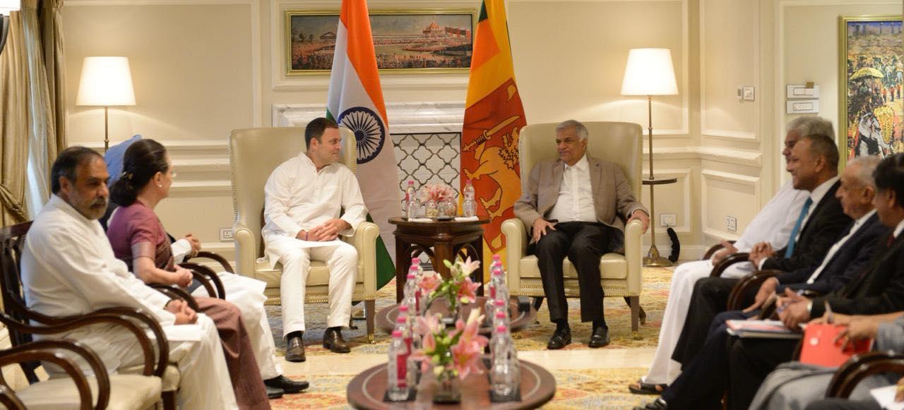 راہول اور سونیا گاندھی نے کی سری لنکا کے وزیر اعظم سے ملاقات
