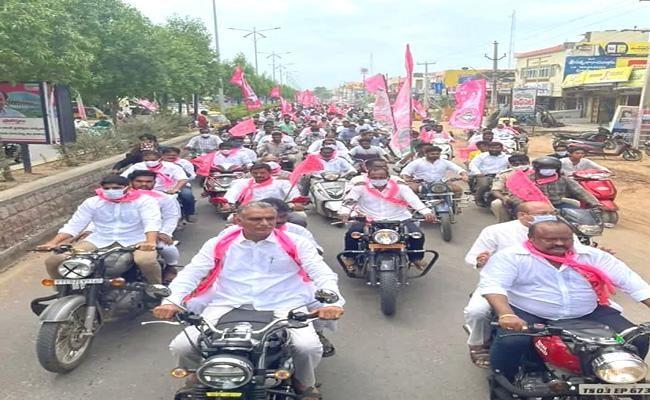 تلنگانہ کے وزیر ہریش راو کی حضورآباد اسمبلی حلقہ میں بائیک ریلی