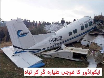 ایکواڈور کا فوجی طیارہ گر کر تباہ، 22 افراد ہلاک