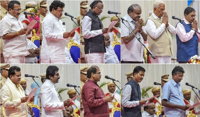 بنگلورو میں کانگریس کے 8 ارکان اسمبلی نے کابینہ وزیر کی حیثیت سے حلف لیا