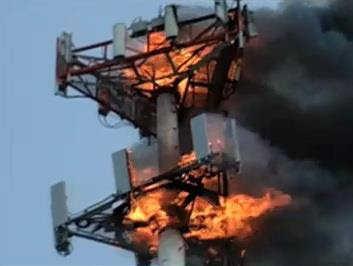 ماؤنوازوں نے بہار کے شہر اورنگ آباد میں موبائل ٹاور میں آگ لگائی